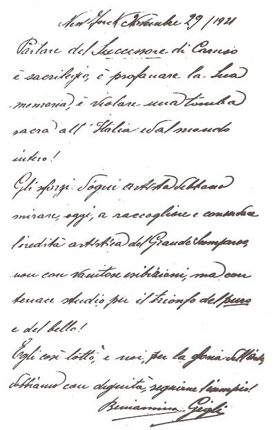 Scritto autografo di Beniamino Gigli