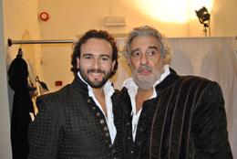 Leonardo Cortellazzi (Borsa) e Placido Domingo (Rigoletto) nel Rigoletto a Mantova ripreso dalla Rai il 4 e 5 settembre 2010 prodotto da Andrea Andermann con la regia di Marco Bellocchio