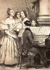 Foto di archivio di una lezione di canto