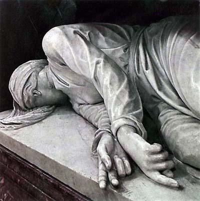 S. Cecilia raffigurazione in marmo di Stefano Maderno scolpita nel 1600 dopo il ritrovamento del corpo della Santa che riprodusse nelle stesse dimensioni e nella stessa posa in cui era stato rinvenuto - Santa Cecilia in Trastevere ROMA