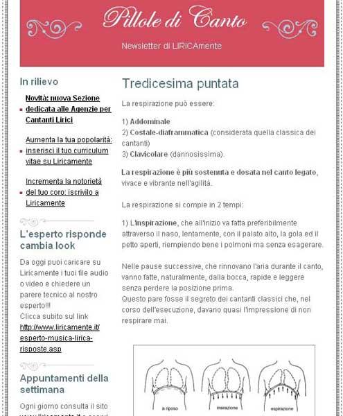 sempio Newsletter Pillole di Canto | Liricamente.it